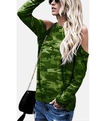 camiseta de manga larga con hombros descubiertos y cuello redondo de camuflaje verde