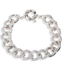 cz by kenneth jay lane women's look of real silvertone & cubic zirconia chain bracelet
