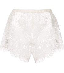 fleur du mal all over lace shorts - white
