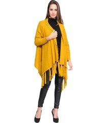 kimono charme tricot franjas amarelo