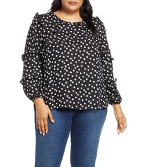 plus size women's cece galactic dot tiered ruffle blouse, size 1x - ivory