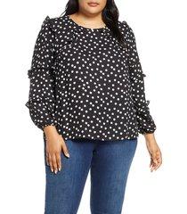 plus size women's cece galactic dot tiered ruffle blouse, size 3x - ivory