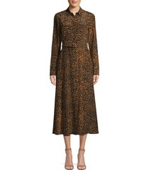 lafayette 148 new york women's augustina leopard-print silk dress - teak multicolor - size xs