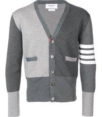 thom browne fun-mix milano stitch merino cardigan - grey