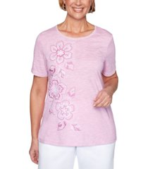 alfred dunner petite petal pushers floral-embroidered top