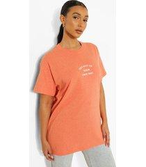 oversized katoenen own way t-shirt, peach