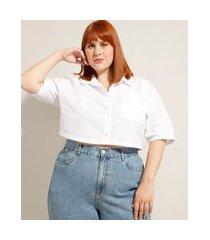 camisa cropped de algodão plus size com bolso manga curta mindset branca