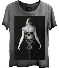 camiseta skull lab caveira ghost corte a fio cinza - kanui