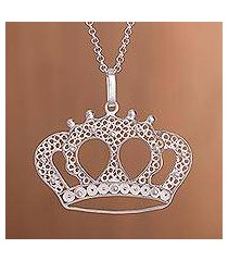 sterling silver filigree pendant necklace, 'princess tiara' (peru)