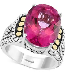 effy pink topaz statement ring (13-3/4 ct. t.w.) in sterling silver & 18k gold