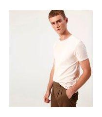 camiseta com listras maquinetadas em algodão peruano | request | rosa | m