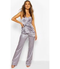 boohoo occasion satin bandeau bow jumpsuit, silver grey