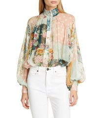 women's zimmermann wavelength floral silk blouse, size 0 (fits like 2 us) - ivory