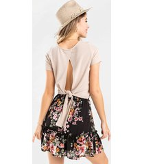 lue back tie tee - taupe