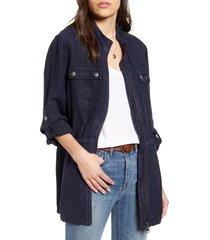 women's treasure & bond linen blend field jacket, size xx-large - blue