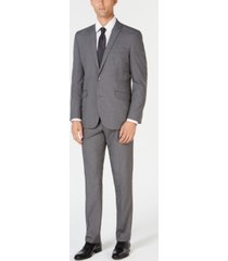 kenneth cole reaction men's ready set slim-fit stretch light gray windowpane suit