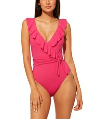 bleu by rod beattie ruffled surplice one-piece swimsuit women's swimsuit