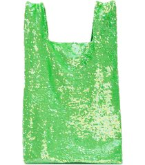 ashish sequin slouchy tote - green