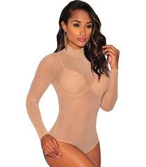 women long sleeve sheer mesh bodysuit lingerie leotard top jumpsuit romper