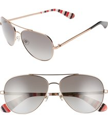 women's kate spade new york avaline 2 58mm polarized aviator sunglasses - red/ gold