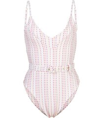 nicholas dotted belted swimsuit - white