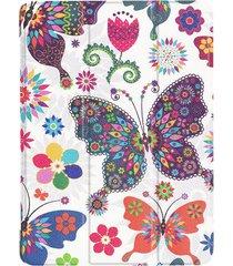 huawei mediapad m3 lite 10 mariposa patron funda de cuero flip con tres deformación horizontal plegable titular y sleep / wake up