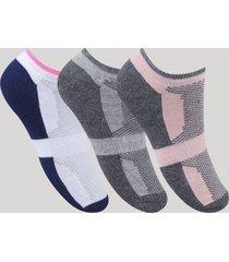 kit de 3 meias femininas soquete esportivas ace atoalhadas com estampa multicor
