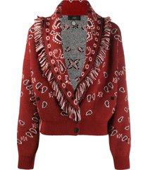 alanui bandana intarsia-knit cardigan - red