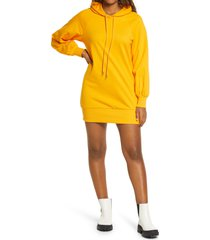 women's bp. long sleeve hooded sweatshirt dress, size xx-small - orange