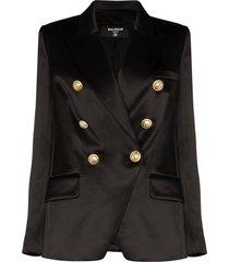 balmain double-breasted silk-satin blazer - black
