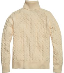 paisley & gray slim fit cable knit turtleneck sweater vanilla