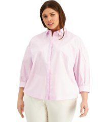 alfani plus size 3/4-sleeve shirt, created for macy's