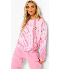 tie dye hartjes sweater, light pink