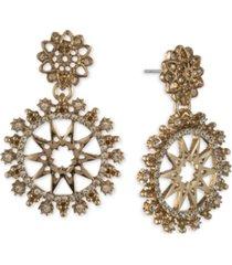 marchesa gold-tone crystal openwork disc drop earrings