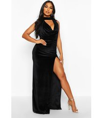 halter neck velvet backless maxi dress, black