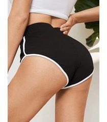 yoins shorts cómodos negros de cintura media
