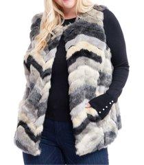 fever plus size multcolored faux-fur vest