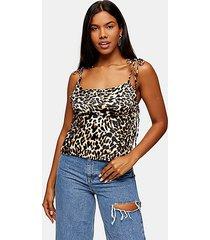 leopard print tie side cami - true leopard