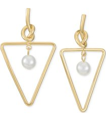 alfani gold-tone imitation pearl triangle drop earrings, created for macy's