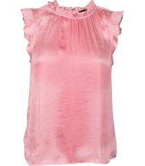 blusa ruffle neck top solids rosa banana republic