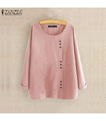 zanzea mujer de manga larga sólido de algodón de lino casual de las señoras blusas holgada tops camisas -rosado