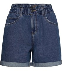 vmnineteen hr loose paperbag short color shorts paper bag shorts blå vero moda