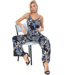 macacã£o facinelli by mooncity reto floral azul-marinho/branco - azul marinho - feminino - viscose - dafiti