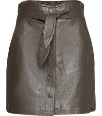 yasrura hw leather skirt kort kjol grön yas