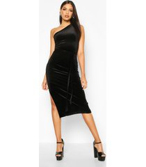 tall belted one shoulder velvet midi dress, black
