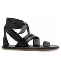 marsèll sandália gladiadora de couro - preto