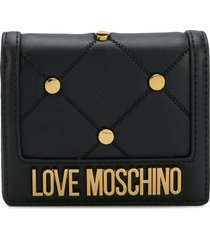 love moschino quilted stud-embellished wallet - black