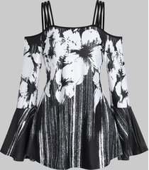 cold shoulder cami floral print t shirt