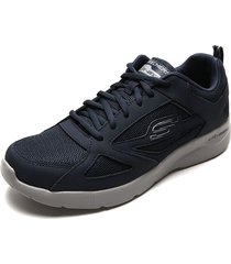 tenis running azul-gris skechers