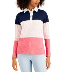 style & co petite colorblocked rugby top, created for macy's